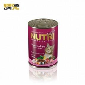 نوتری کنسرو گربه مرغ و گوشت 425 گرم